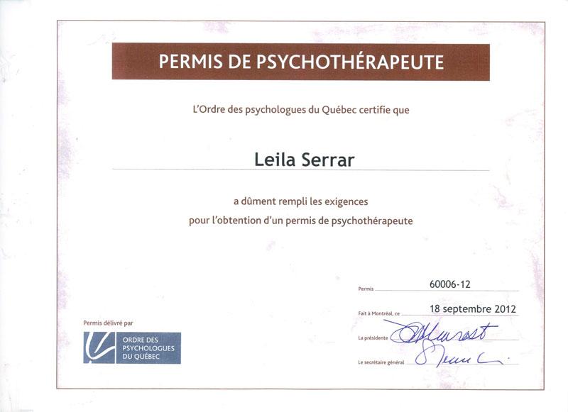diplôme de psychothérapeute
